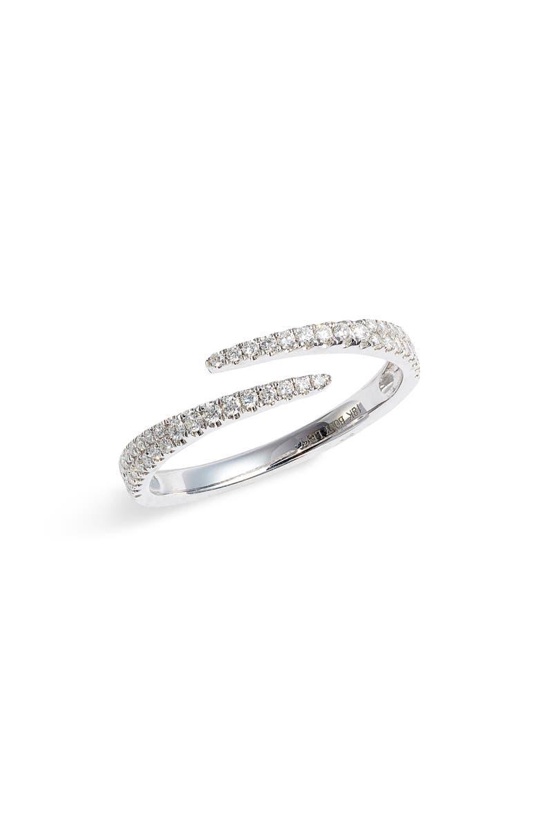 BONY LEVY Bardot Pavé Diamond Coil Ring, Main, color, WHITE GOLD/ DIAMOND