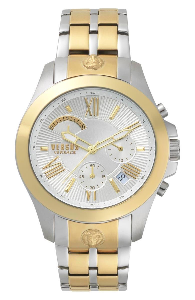 VERSUS VERSACE Lion Chronograph Bracelet Watch, 44mm, Main, color, SILVER/ GOLD