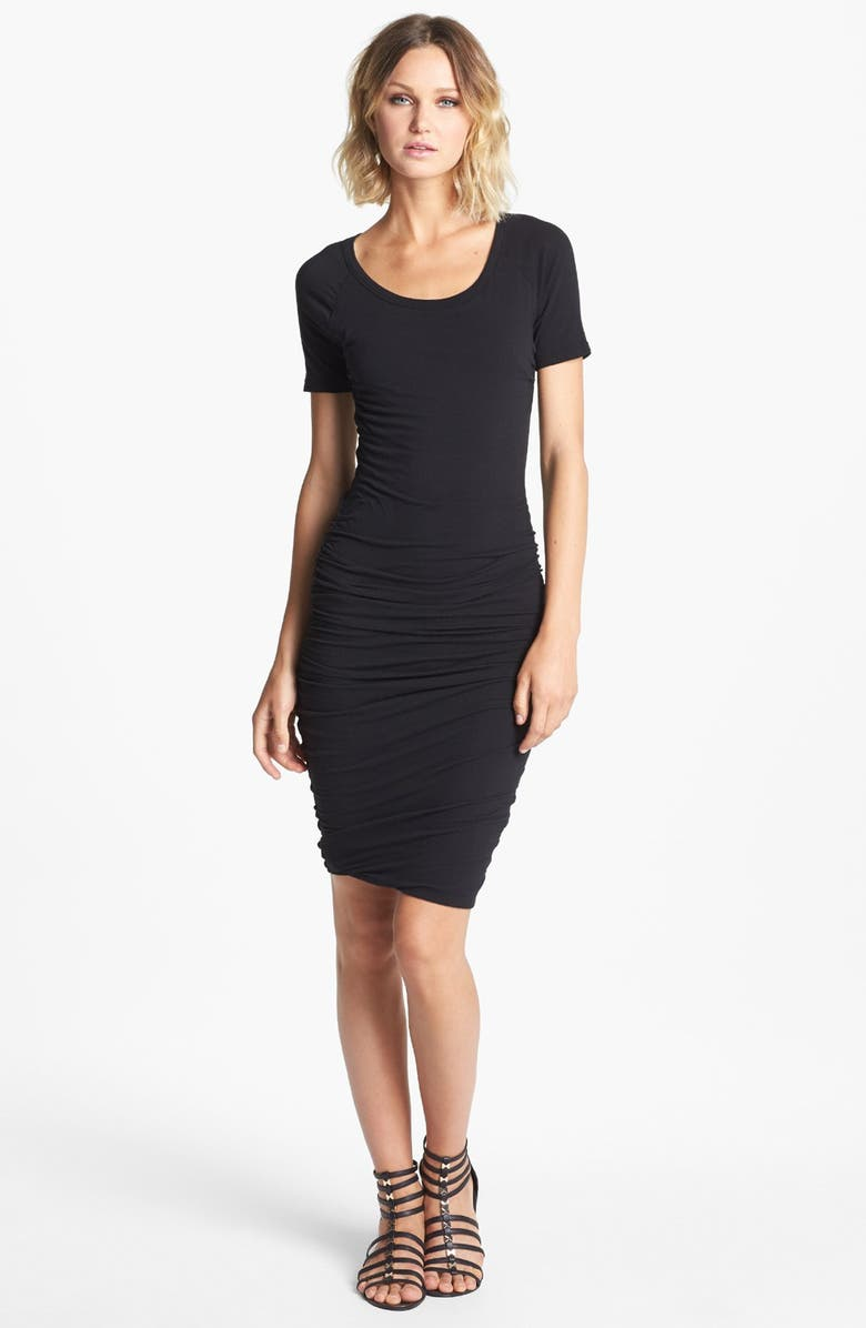 JAMES PERSE Ruched Raglan Sleeve Dress, Main, color, 001