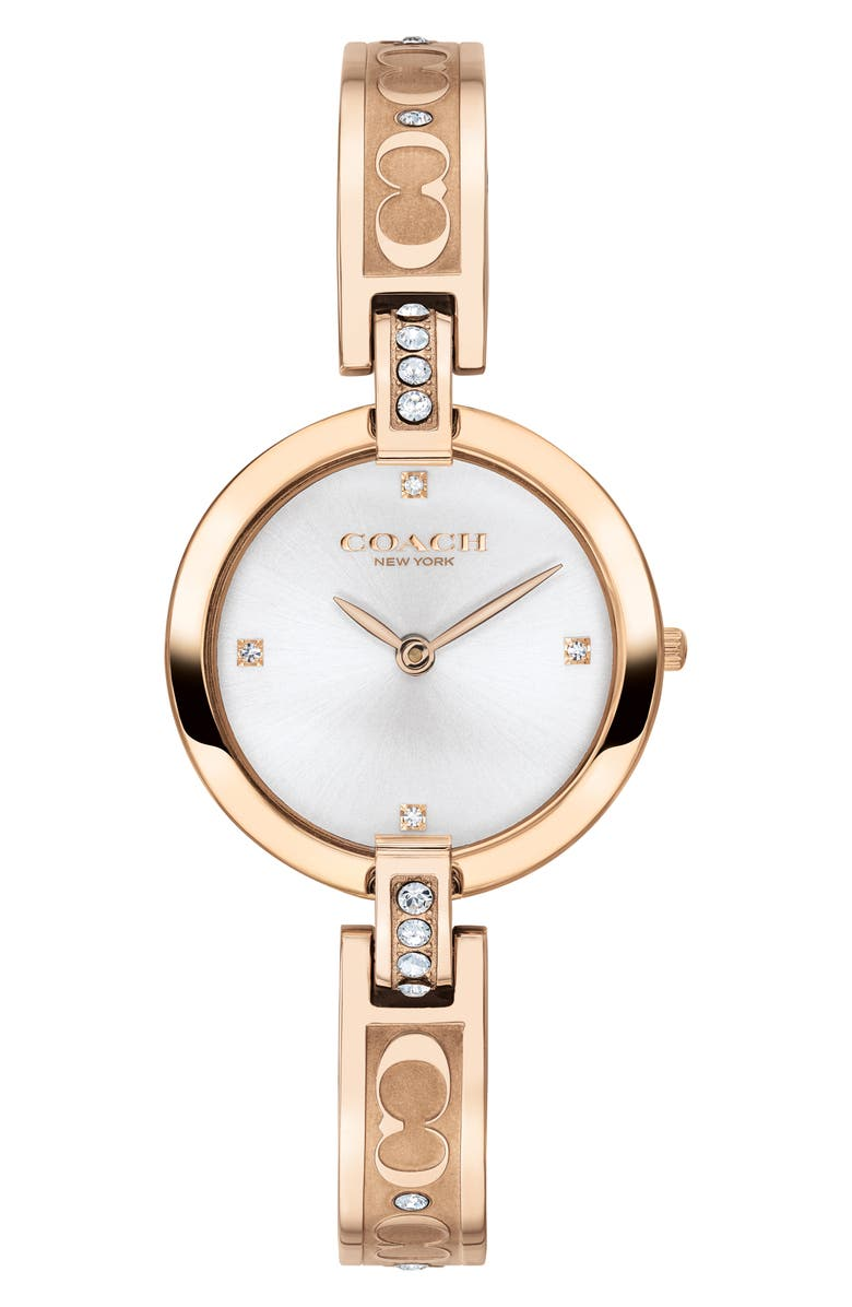 COACH Chrystie Bangle Watch, 26mm, Main, color, CARNATION GOLD/ SILVER WHITE