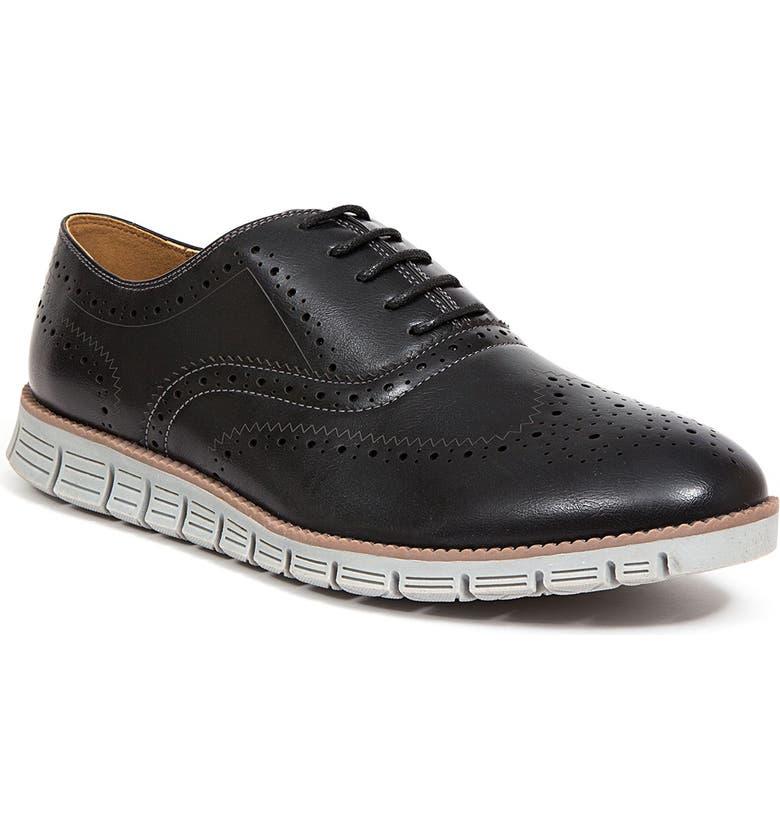 DEER STAGS Benton Jr. Classic Lace-Up Wingtip Hybrid Sneaker Dress Comfort Oxford, Main, color, BNTNJRHTEC-001