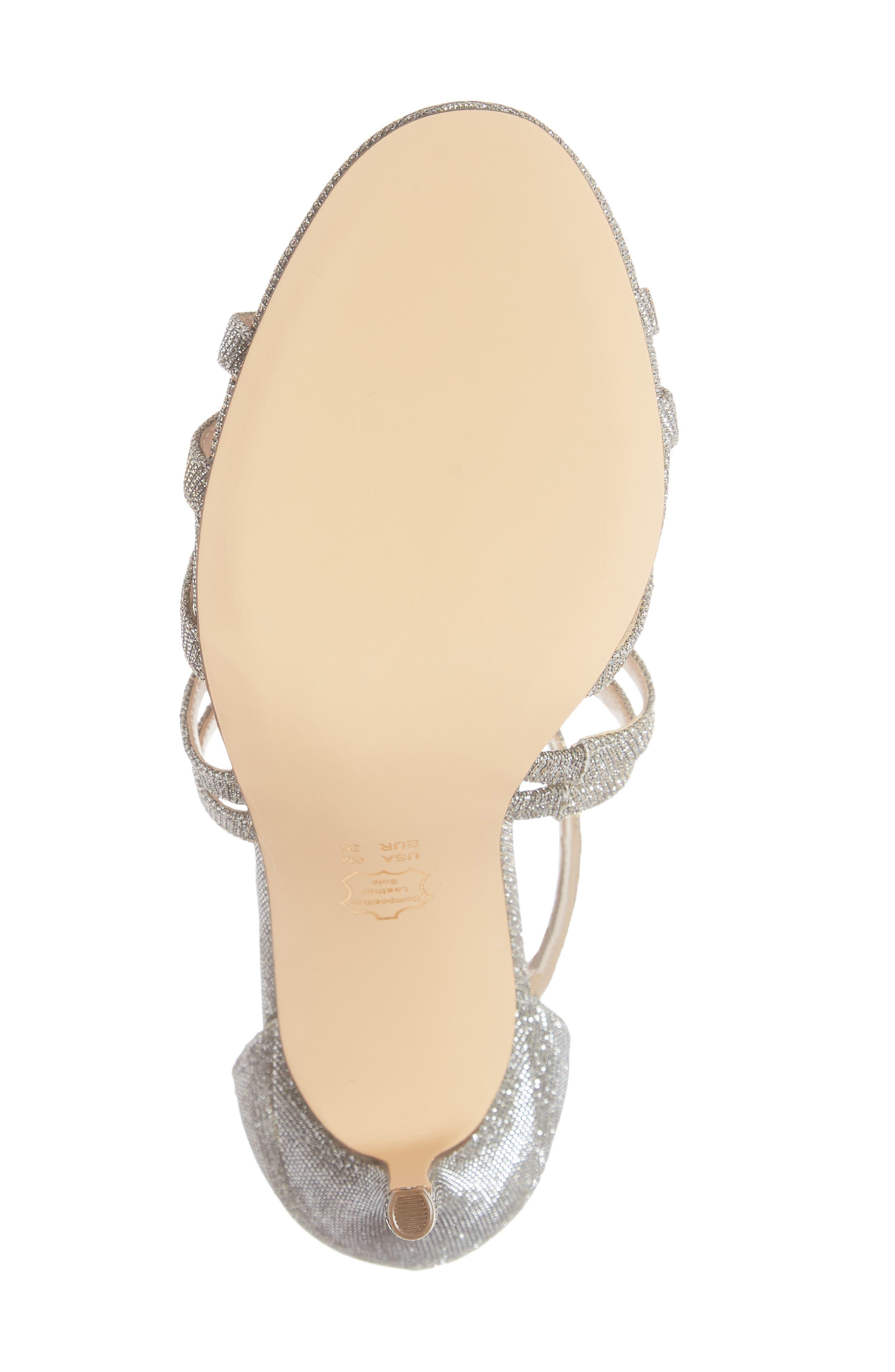 ,                             Carlie Ankle Strap Sandal,                             Alternate thumbnail 6, color,                             STEEL GLITTER FABRIC