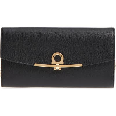 Salvatore Ferragamo Gancio Calfskin Leather Clutch - Black