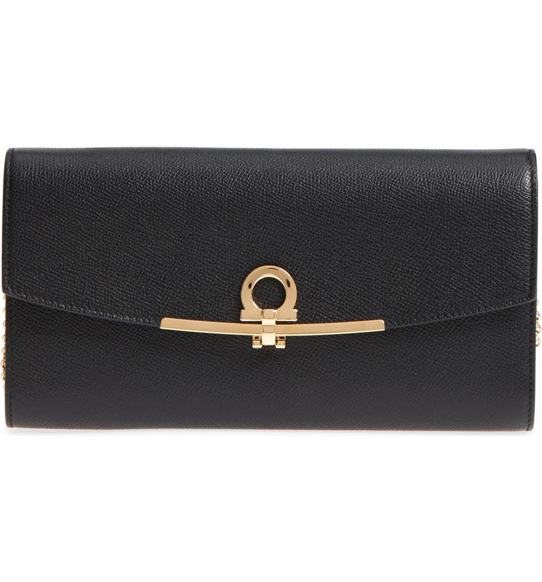 SALVATORE FERRAGAMO Gancio Calfskin Leather Clutch, Main, color, NERO