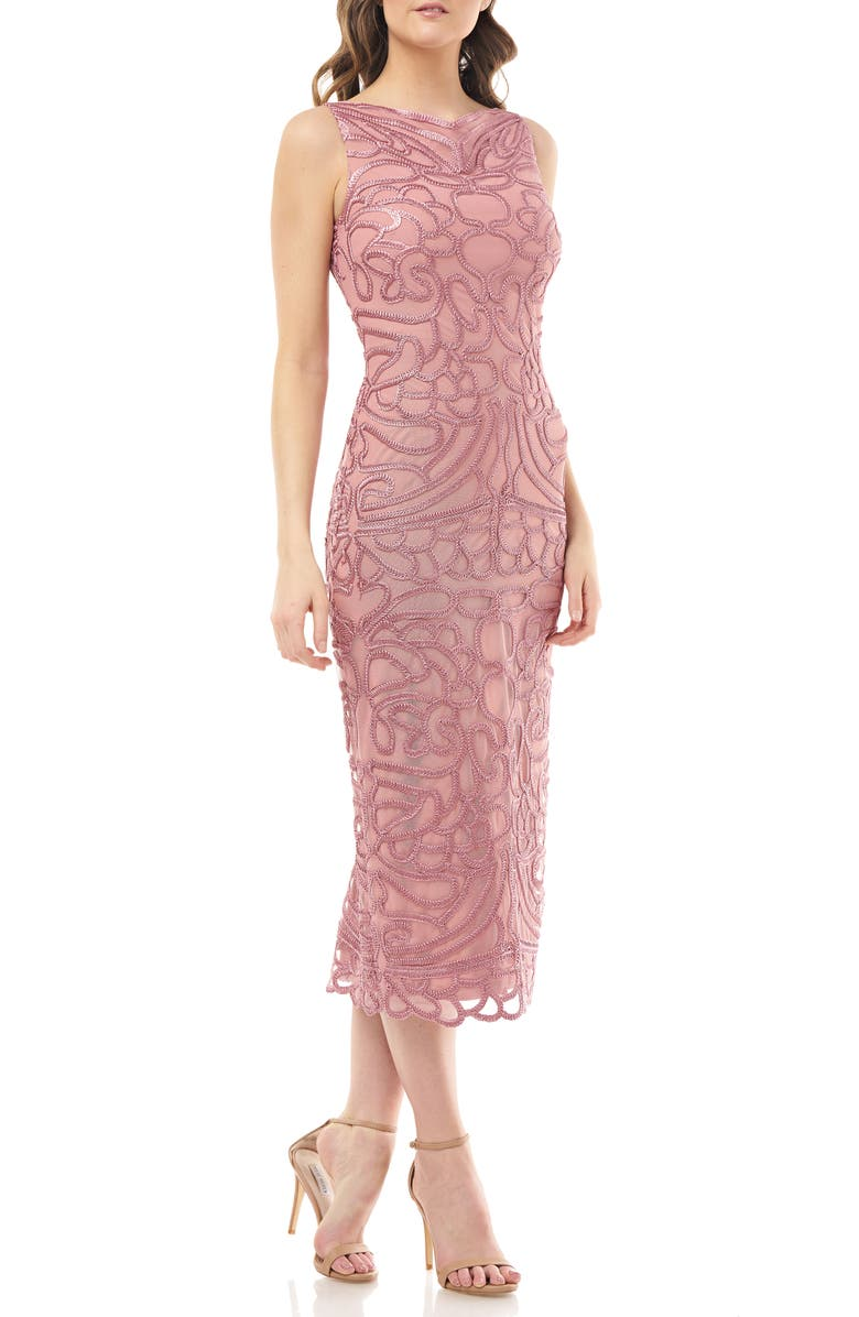 JS COLLECTIONS Soutache Embroidered Midi Dress, Main, color, DUSTY ROSE