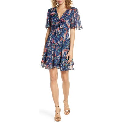 Harlyn Floral Fit & Flare Dress, Blue