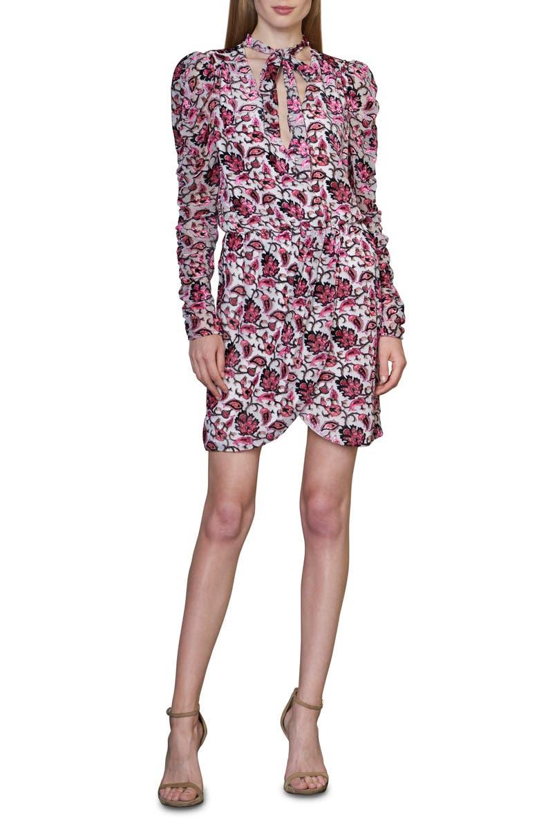 ML MONIQUE LHUILLIER Floral Velvet Burnout Long Sleeve Cocktail Dress, Main, color, IVORY MULTI
