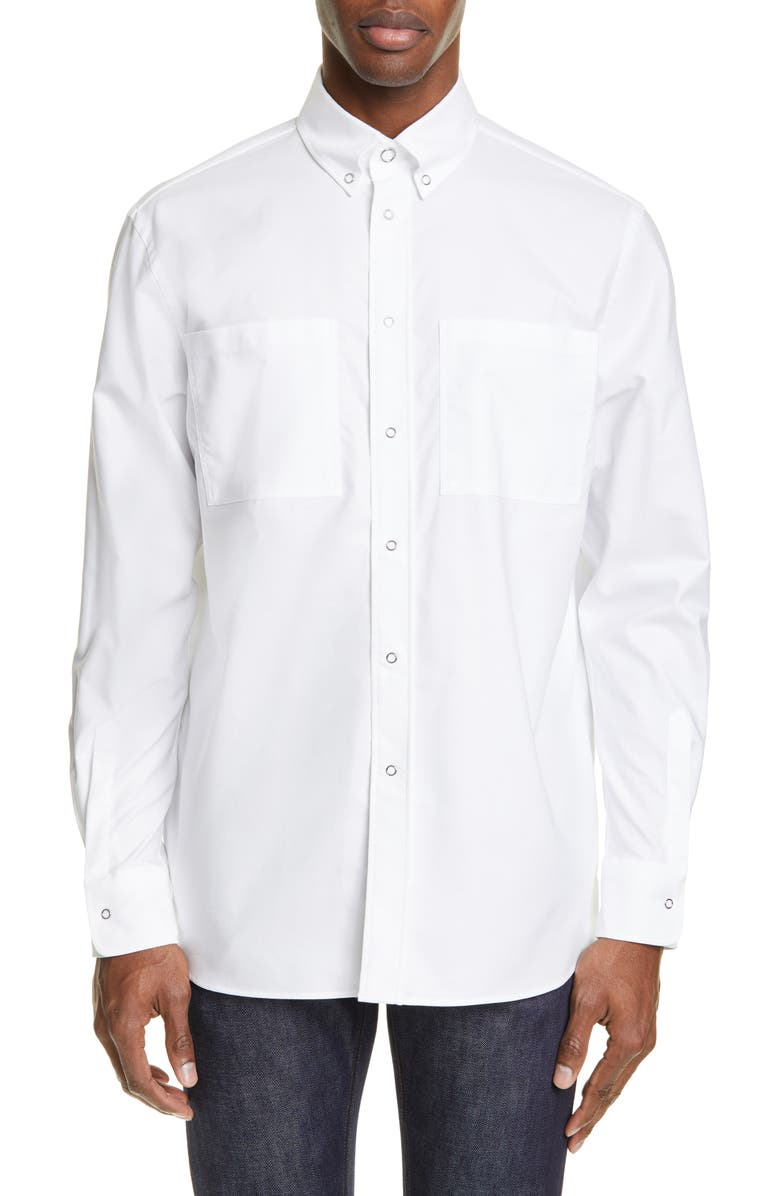 BURBERRY Runway Logo Print Slim Fit Oxford Shirt, Main, color, WHITE