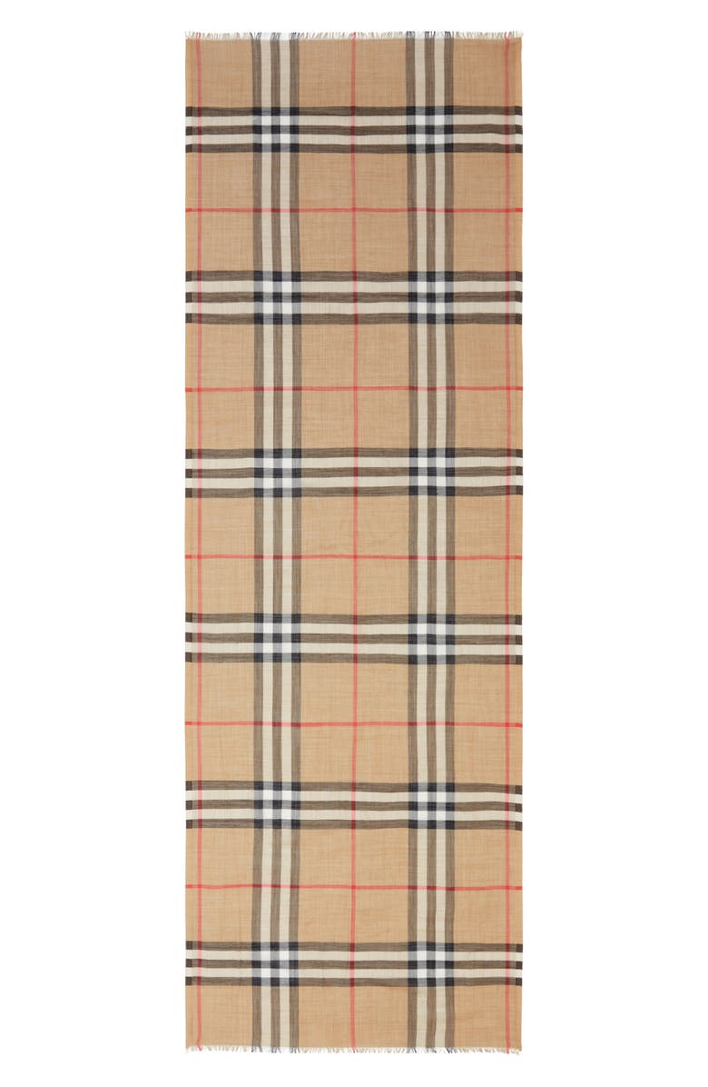 BURBERRY Giant Check Print Wool & Silk Scarf, Main, color, ARCHIVE BEIGE