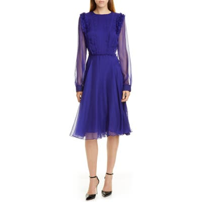 Jason Wu Long Sleeve Crinkled Chiffon Dress, Purple
