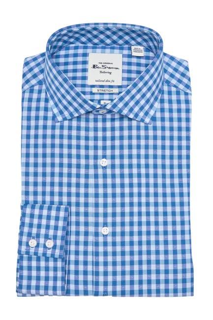 Image of Ben Sherman Teal & Blue Diamond Dobby Gingham Dress Shirt