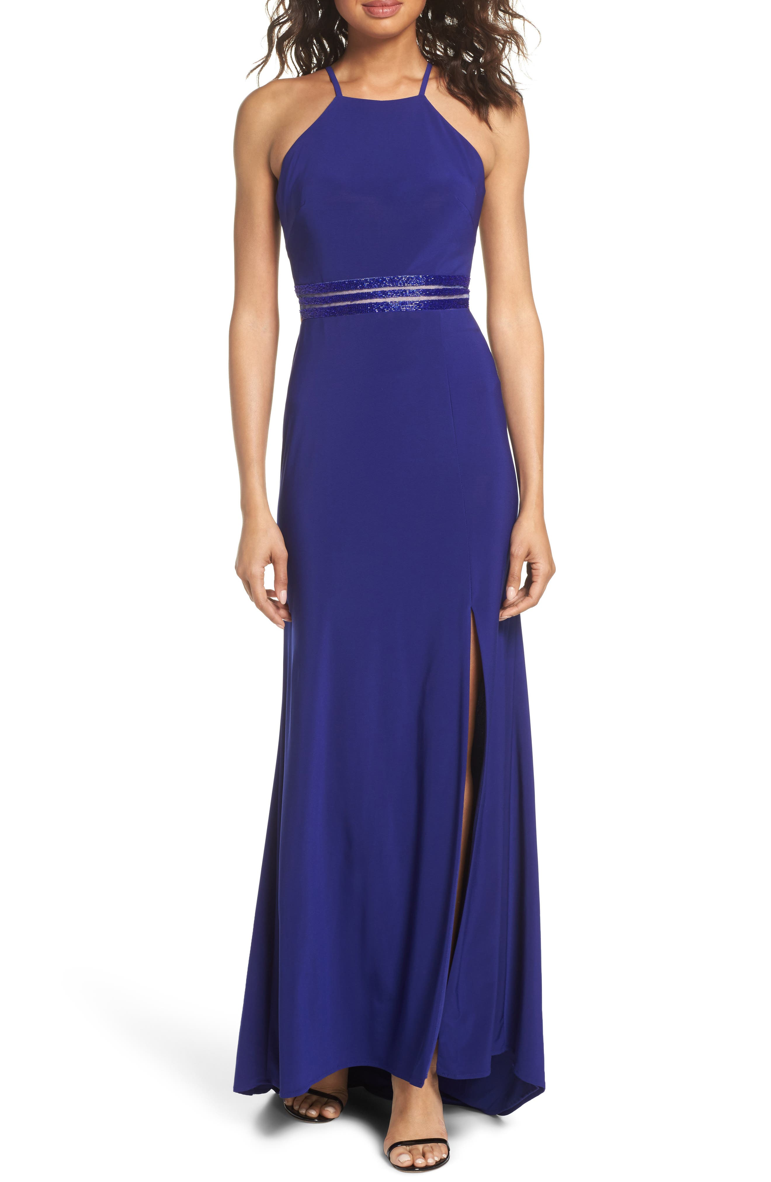 Morgan & Co. Beaded Mesh Halter Gown, /4 - Blue