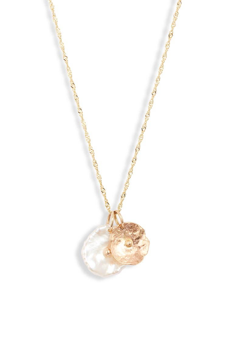 POPPY FINCH Pearl Petal Pendant Necklace, Main, color, YELLOW GOLD/ PEARL