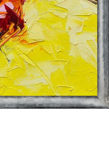 """Image of Overstock Art Kingfisher in Yellow with Piccino Luminoso Silver Frame - 22.5"""" x 26.5"""""""