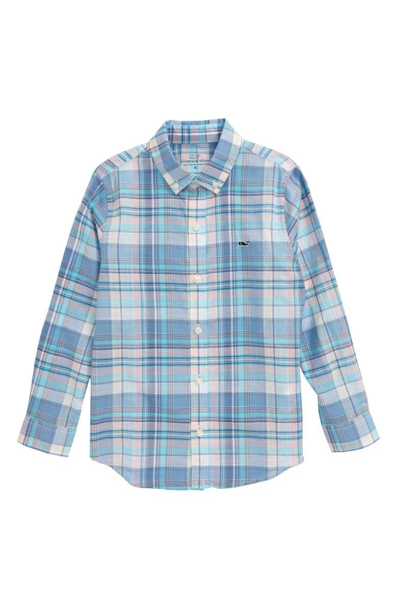 VINEYARD VINES Tartan Plaid Button-Down Shirt, Main, color, HIBISCUS
