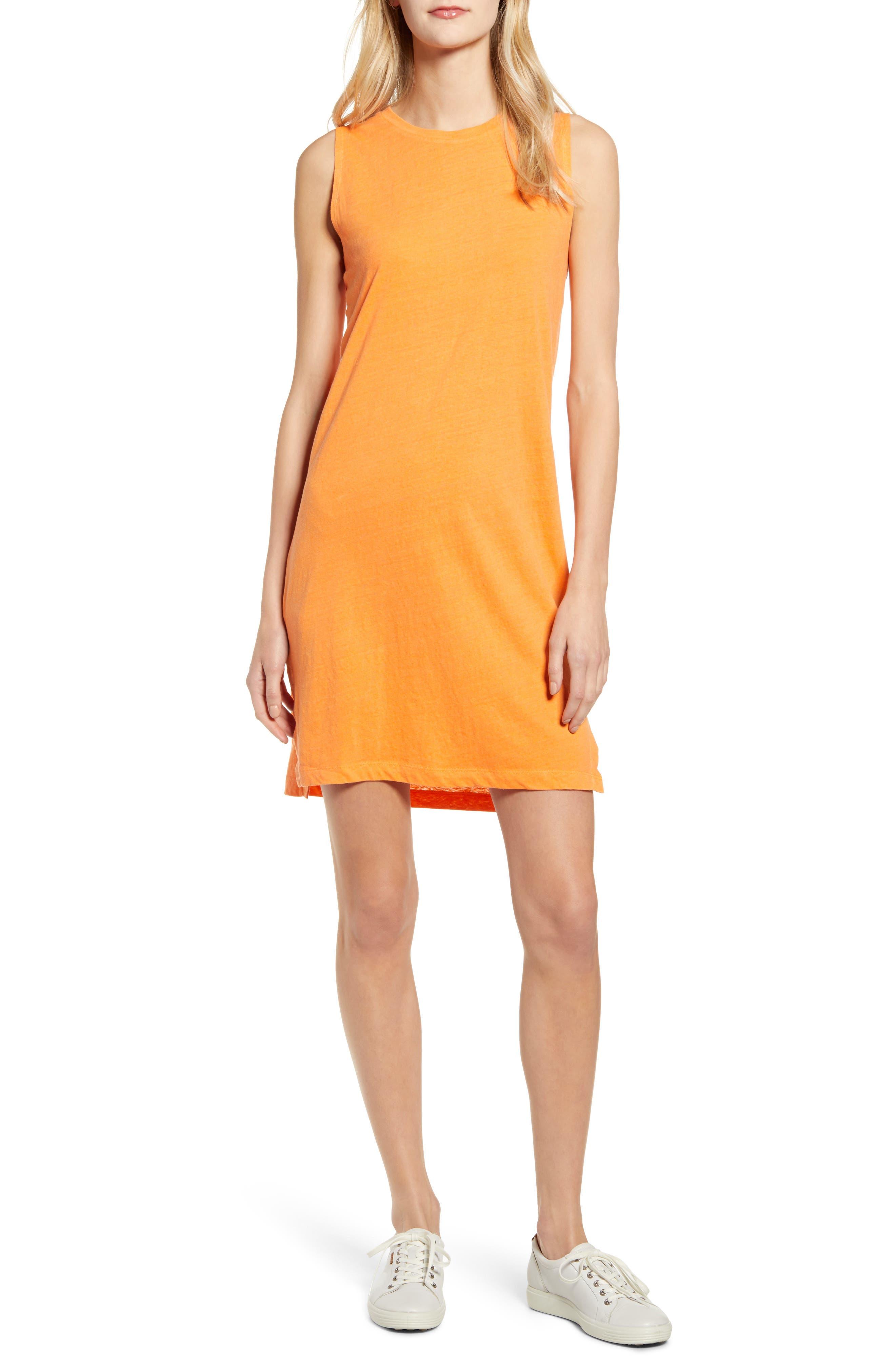 Lou & Grey Softserve Slub Tank Dress, Orange