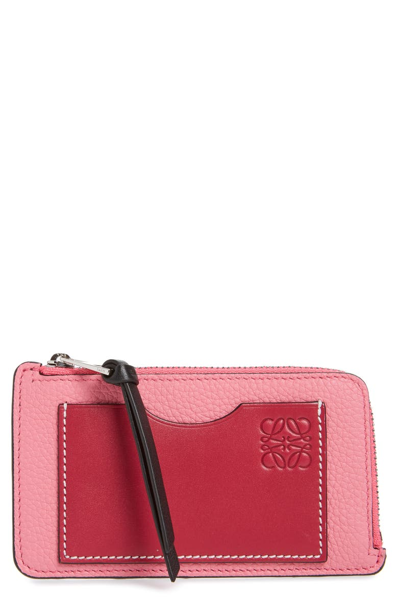 LOEWE Coin & Card Leather Zip Pouch, Main, color, 656
