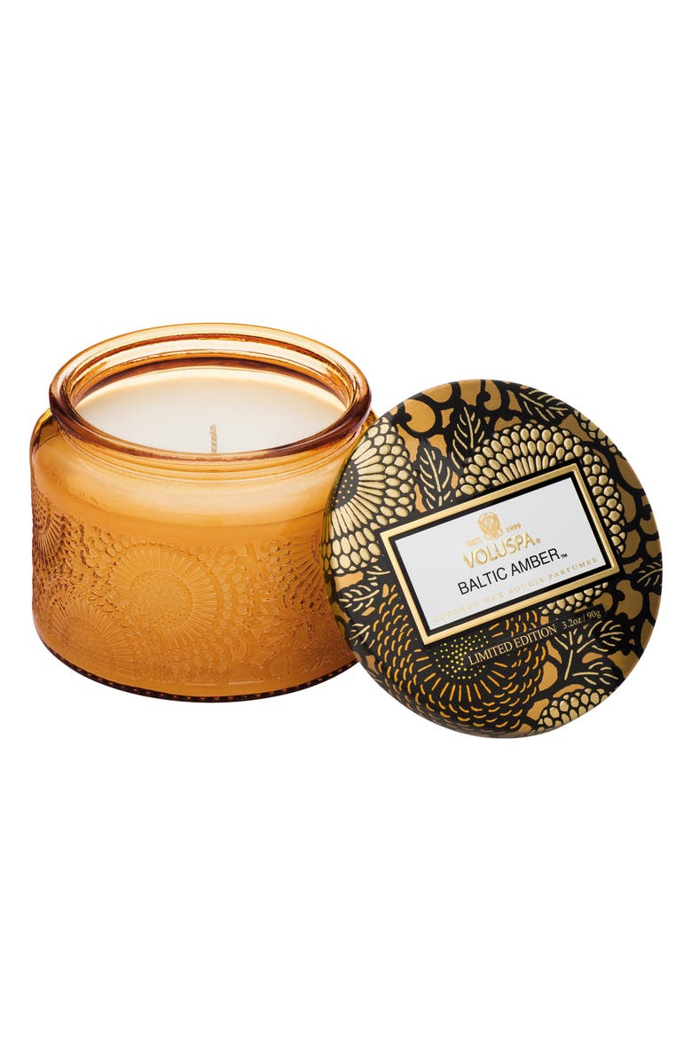 VOLUSPA Japonica Petite Embossed Glass Jar Candle, Main, color, BALTIC AMBER