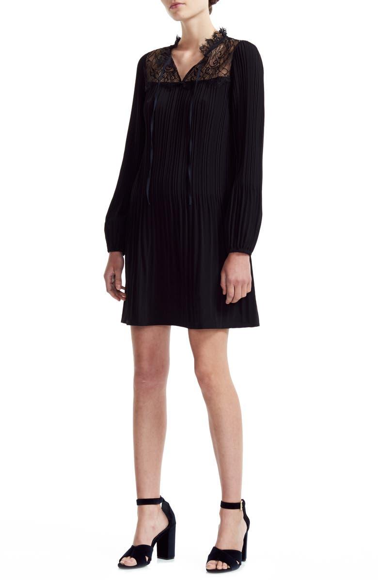 MAJE Rockette Pleated Long Sleeve Shift Dress, Main, color, BLACK