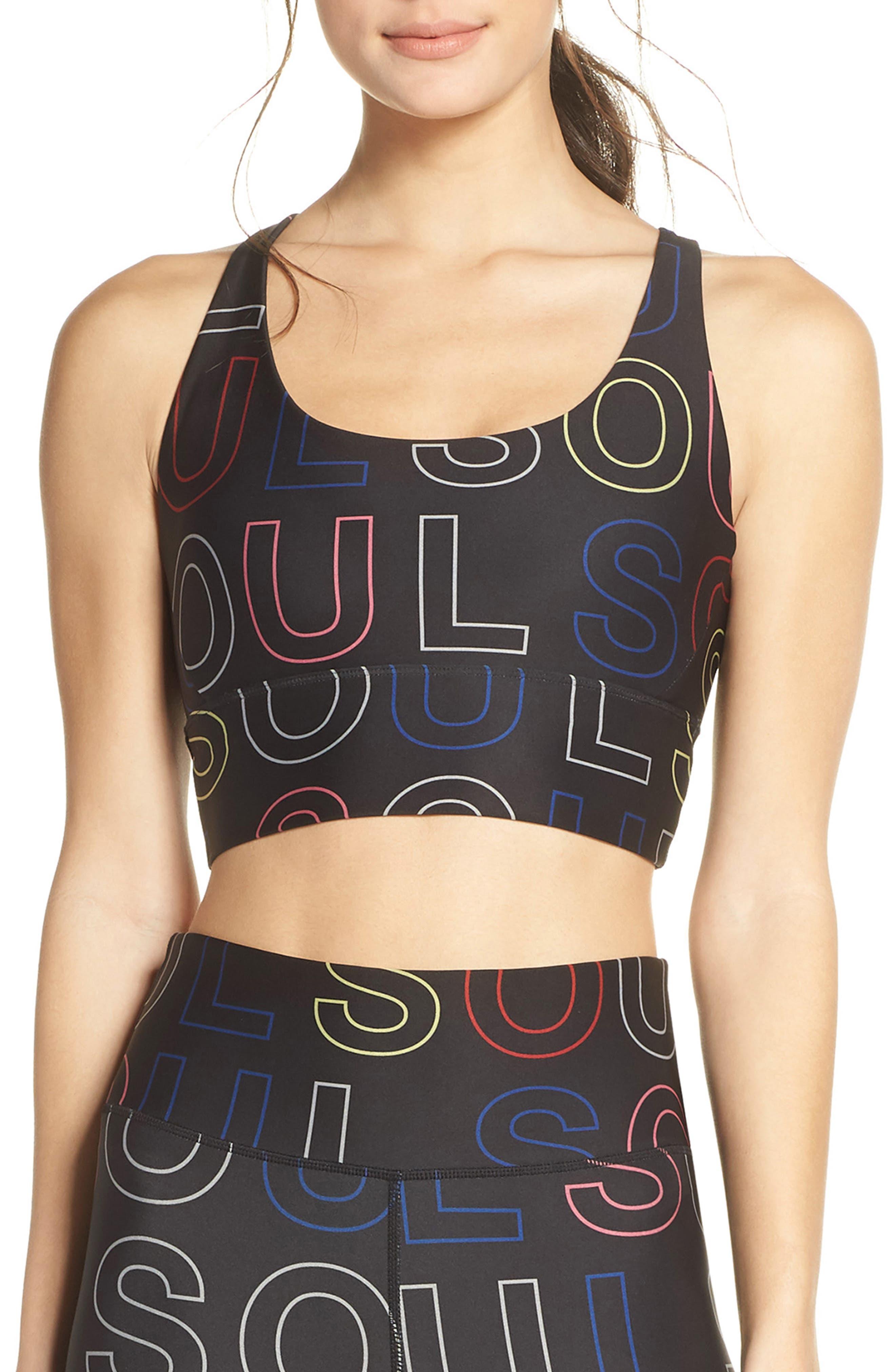 Soul By Soulcycle Longline Logo Sports Bra, Black