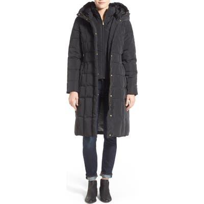 Petite Cole Haan Bib Insert Down & Feather Fill Coat, Black