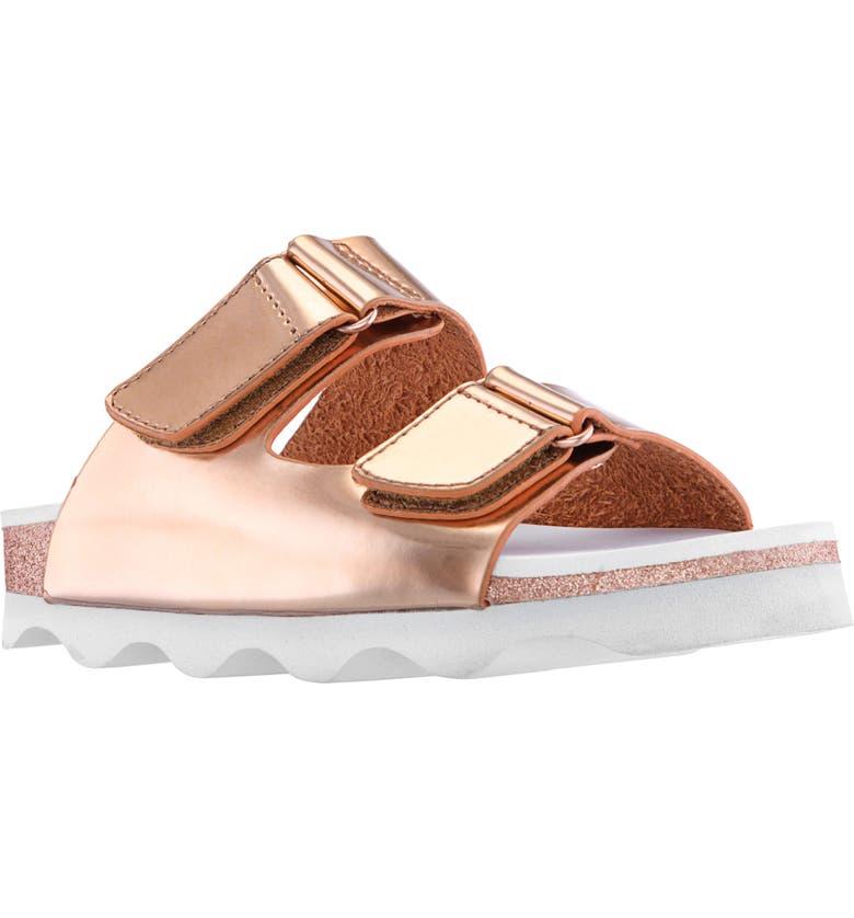NINA Andrina Metallic Glitter Slide Sandal, Main, color, ROSE GOLD METALLIC