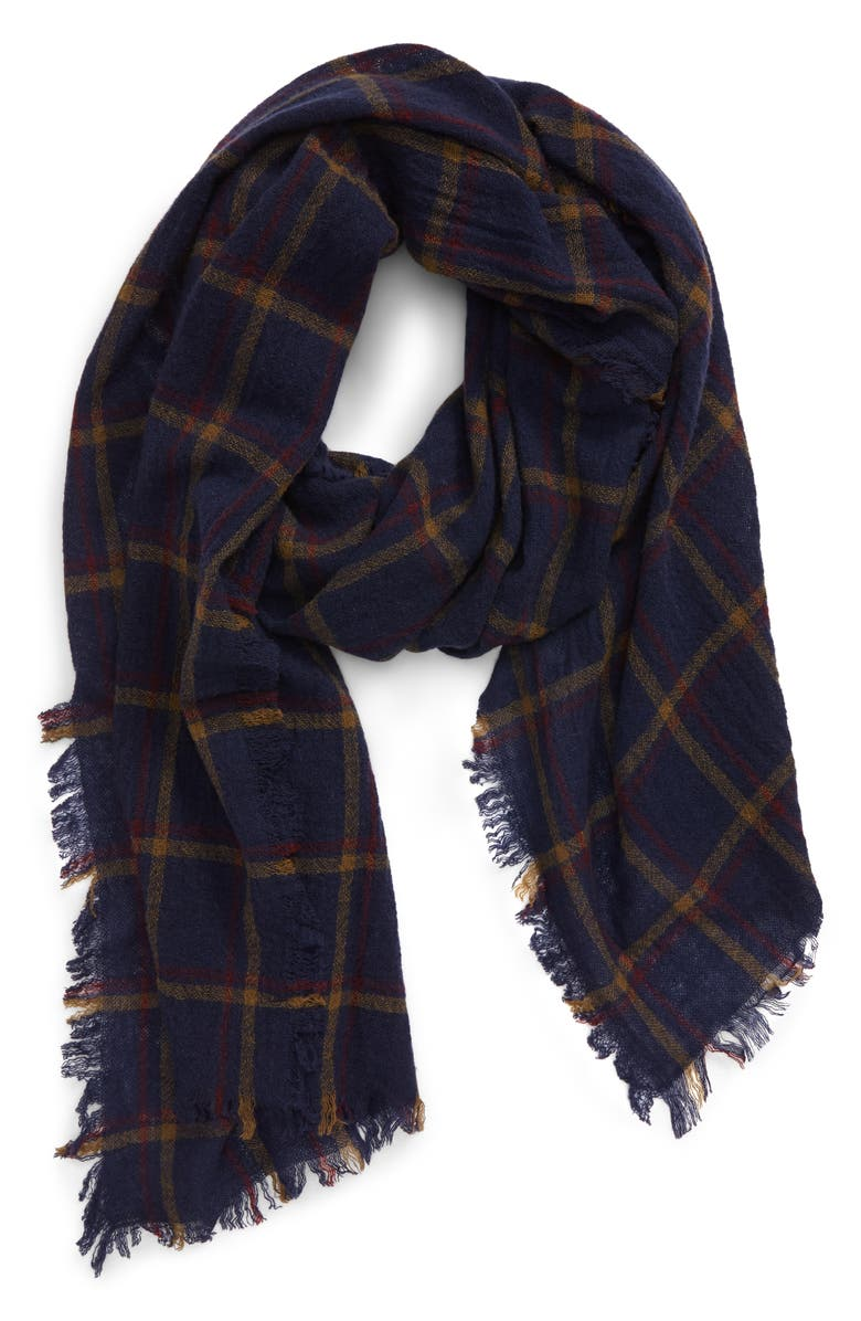 MADEWELL Northall Plaid Wool Scarf, Main, color, ASPARAGUS