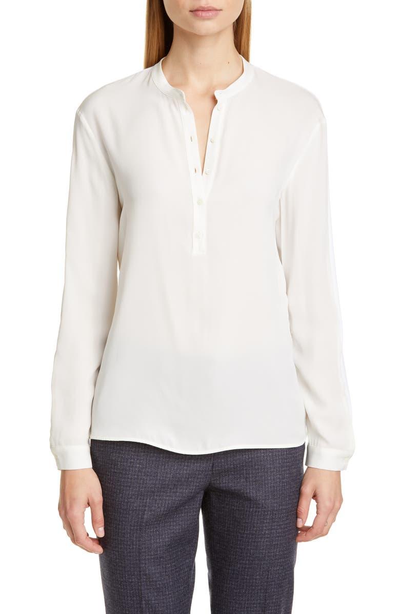 FABIANA FILIPPI Satin & Jersey Pullover Blouse, Main, color, WHITE