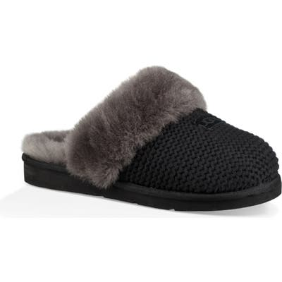 UGG Cozy Knit Genuine Shearling Slipper, Black