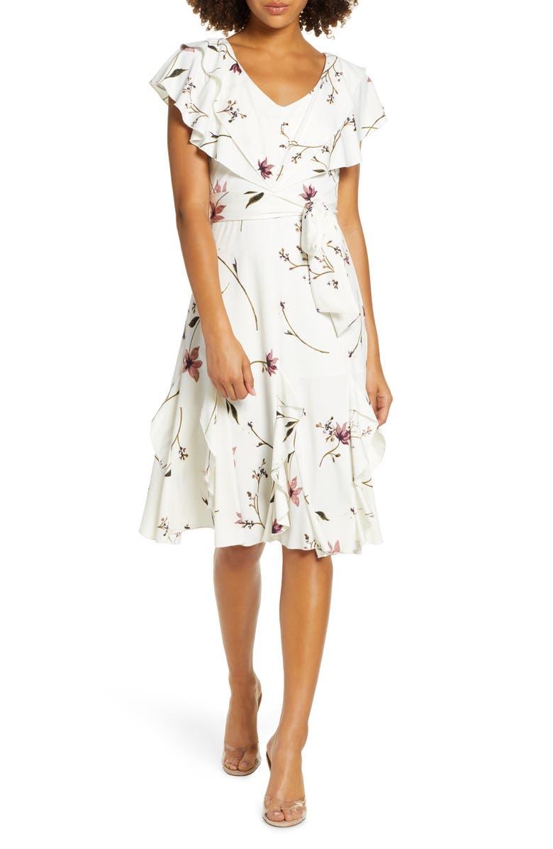 5f9f6f3313dd8 Floral Print Ruffle Faux Wrap Midi Dress