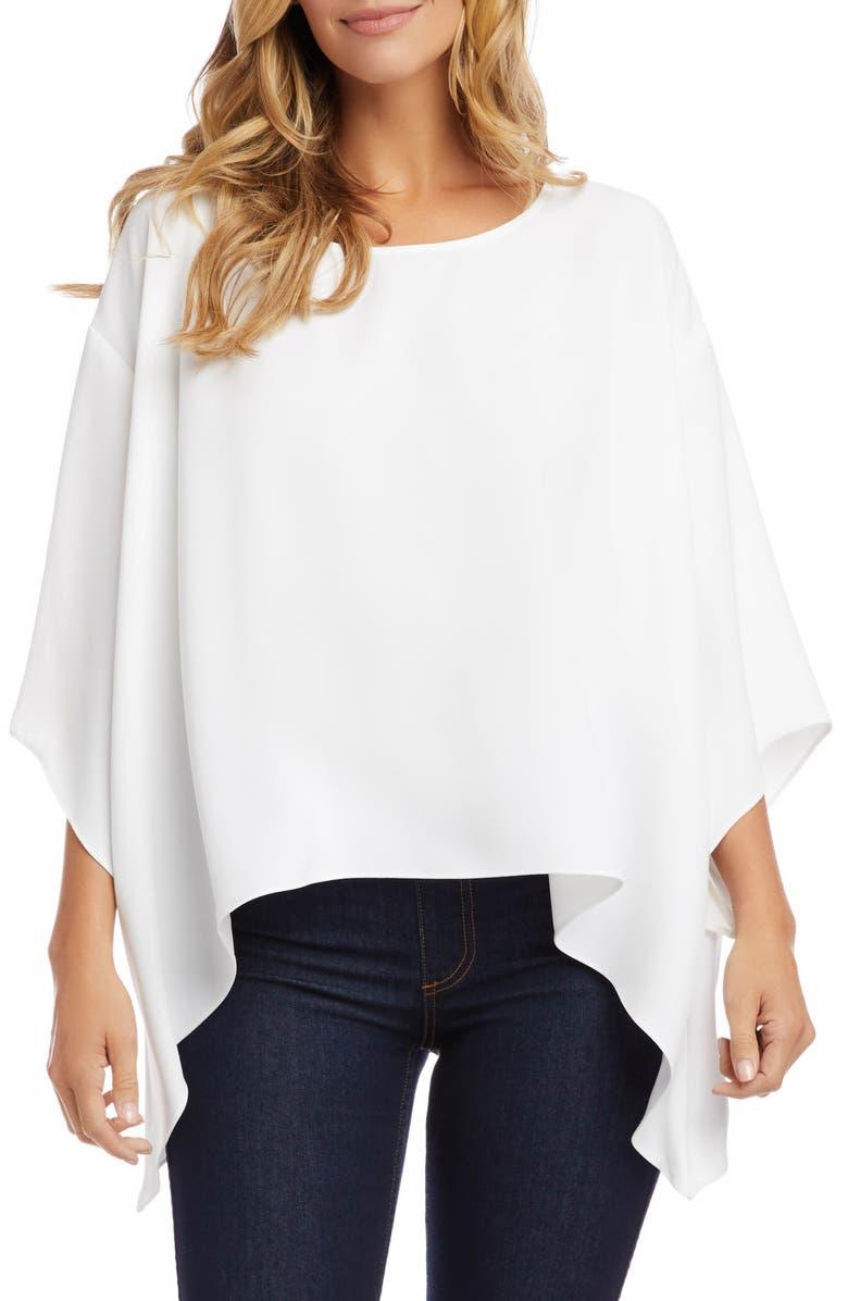 KAREN KANE Handkerchief Hem Crepe Top, Main, color, OFF WHITE