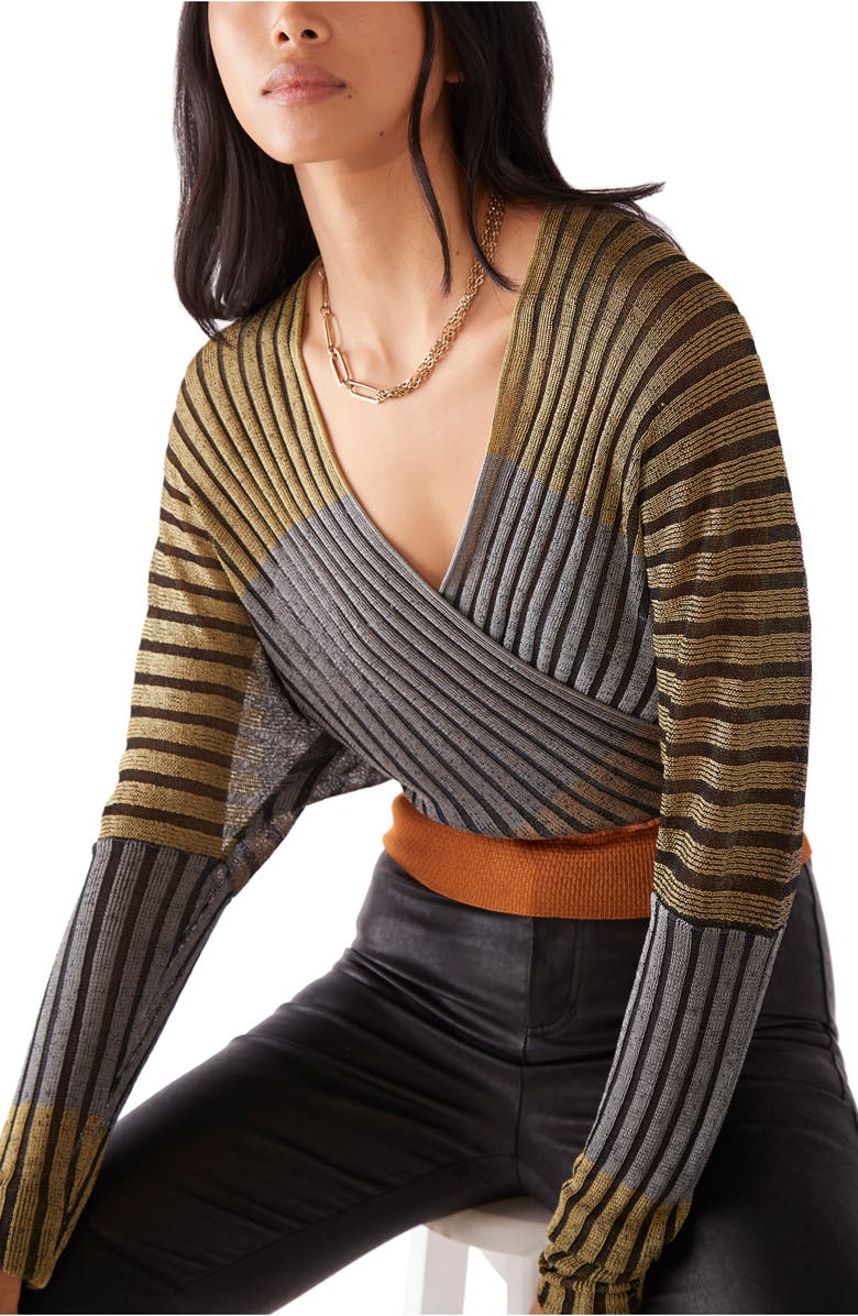 FREE PEOPLE Pluto Faux Wrap Top, Main, color, CENTER STAGE COMBO