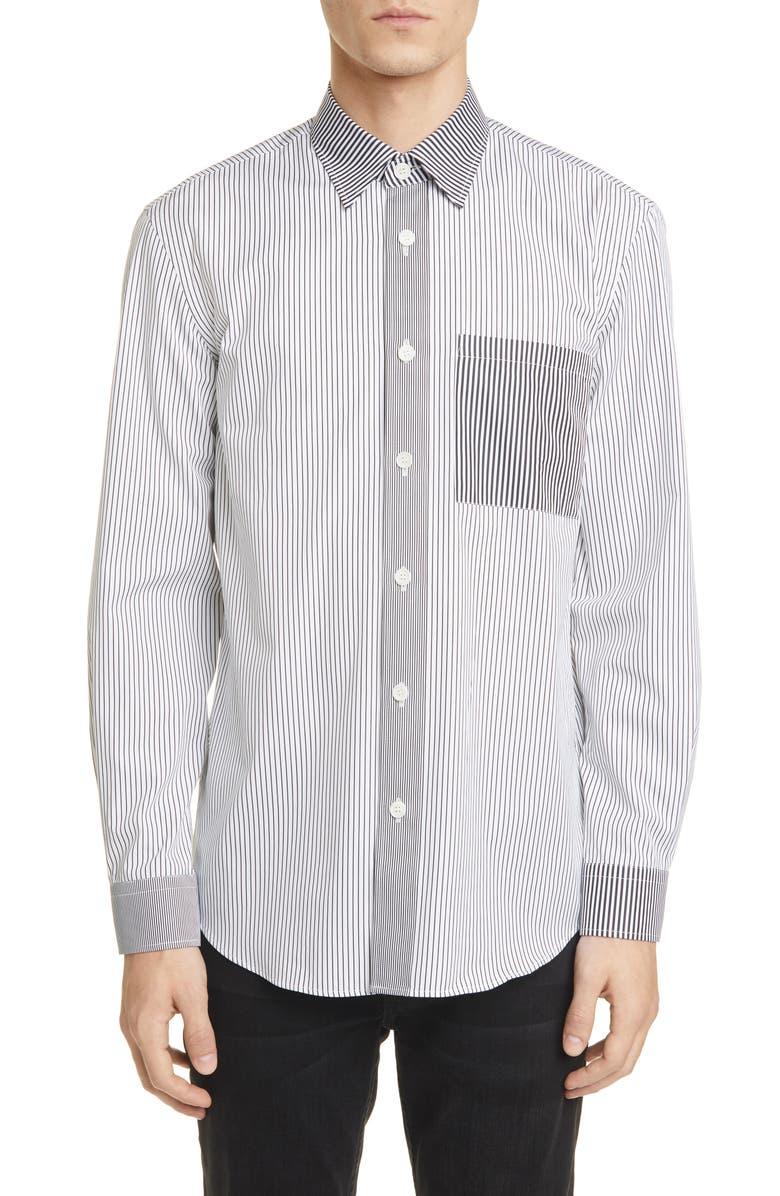 BURBERRY Chatteris Classic Fit Stripe Button-Up Shirt, Main, color, BLACK STRIPE