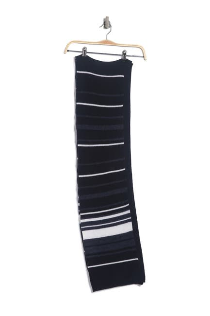 Image of Theory Fabion Stripe Print Knit Cashmere Scarf