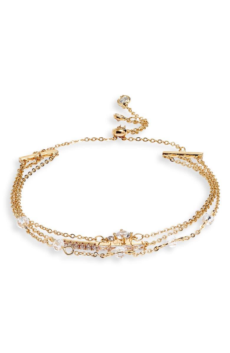 NORDSTROM Triple Chain Slider Bracelet, Main, color, CLEAR- GOLD