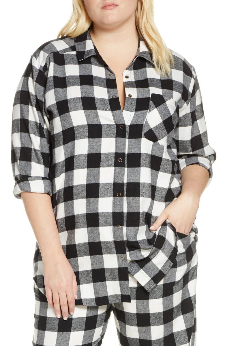 BP. Flannel Nightshirt, Main, color, BLACK BUFFALO CHECK