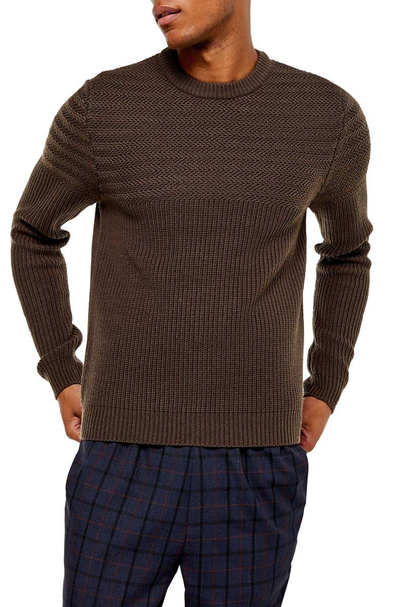 TOPMAN Mixed Stitch Crewneck Sweater, Main, color, BROWN