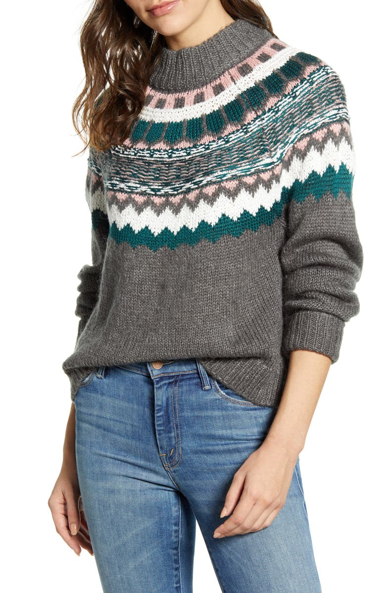 CASLON<SUP>®</SUP> Chunky Jacquard Sweater, Main, color, CHARCOAL FOLIAGE PRINT