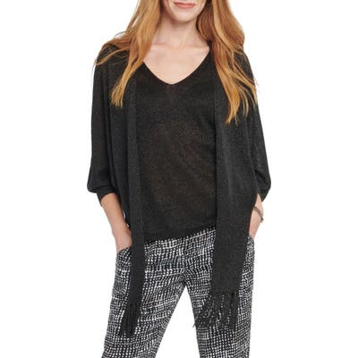 Nic+Zoe Gleaming Tie Front Linen Blend Cardigan Sweater, Black