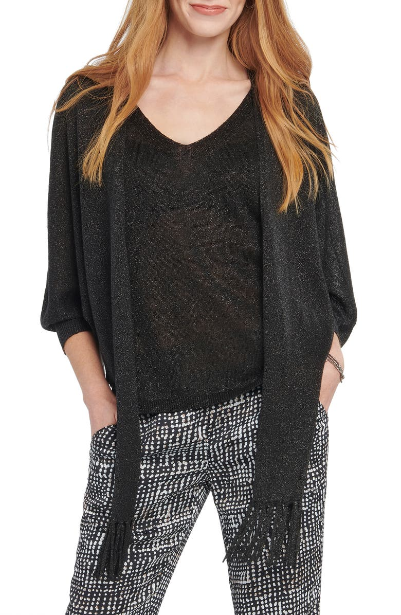 NIC+ZOE Gleaming Tie Front Linen Blend Cardigan Sweater, Main, color, BLACK ONYX