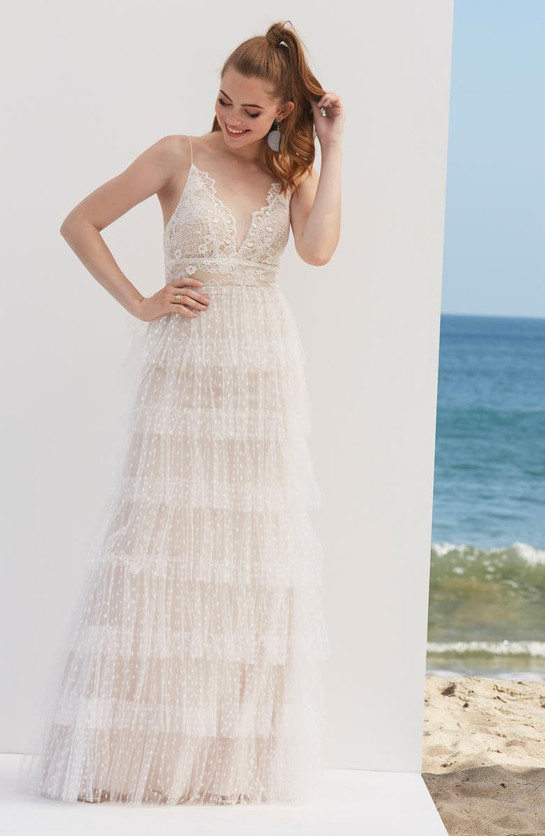 BY WATTERS Tiered Lace & Swiss Dot Wedding Dress, Main, color, IVORY/ BLUSH