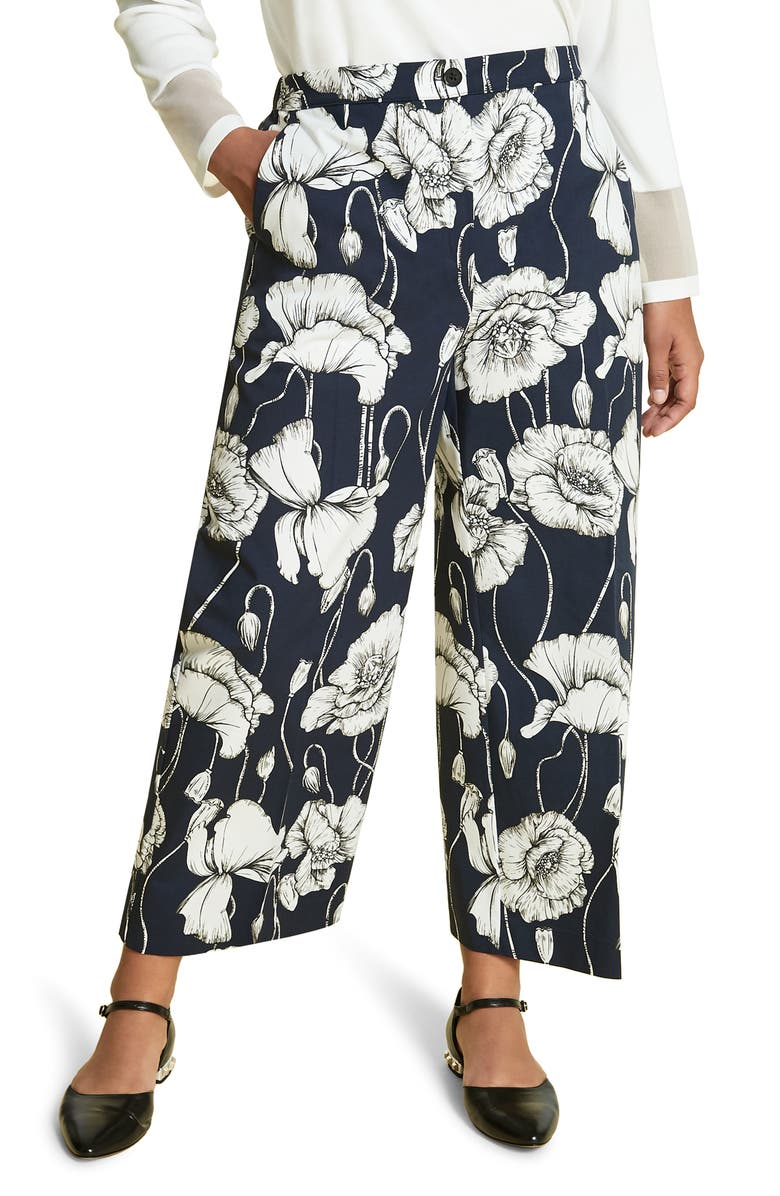 MARINA RINALDI Floral Print Wide Leg Crop Pants, Main, color, NAVY BLUE