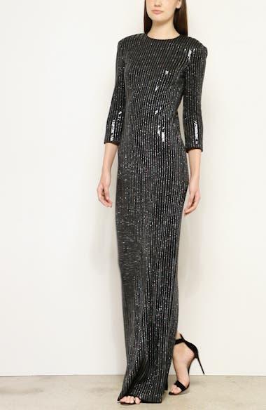 Evening Paillette Pinstripe Gown, video thumbnail