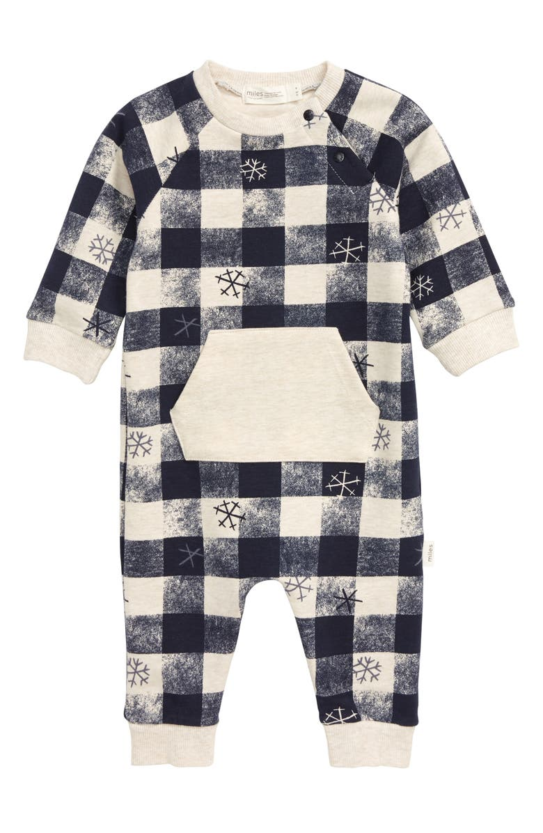 MILES BABY Snowflake Check Romper, Main, color, HEATHER BEIGE