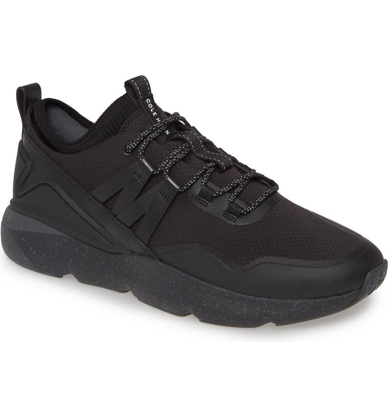 COLE HAAN ZeroGrand Water Resistant Trail Sneaker, Main, color, BLACK/ BLACK KNIT