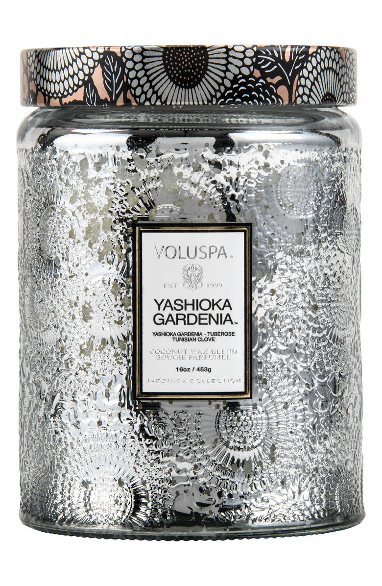 VOLUSPA Japonica Yashioka Gardenia Large Embossed Glass Jar Candle, Main, color, YASHIOKA GARDENIA