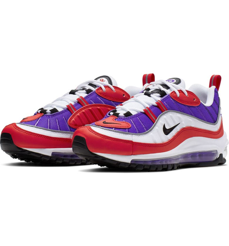 NIKE Air Max 98 Running Shoe, Main, color, PSYCHIC PURPLE/ BLACK/ RED