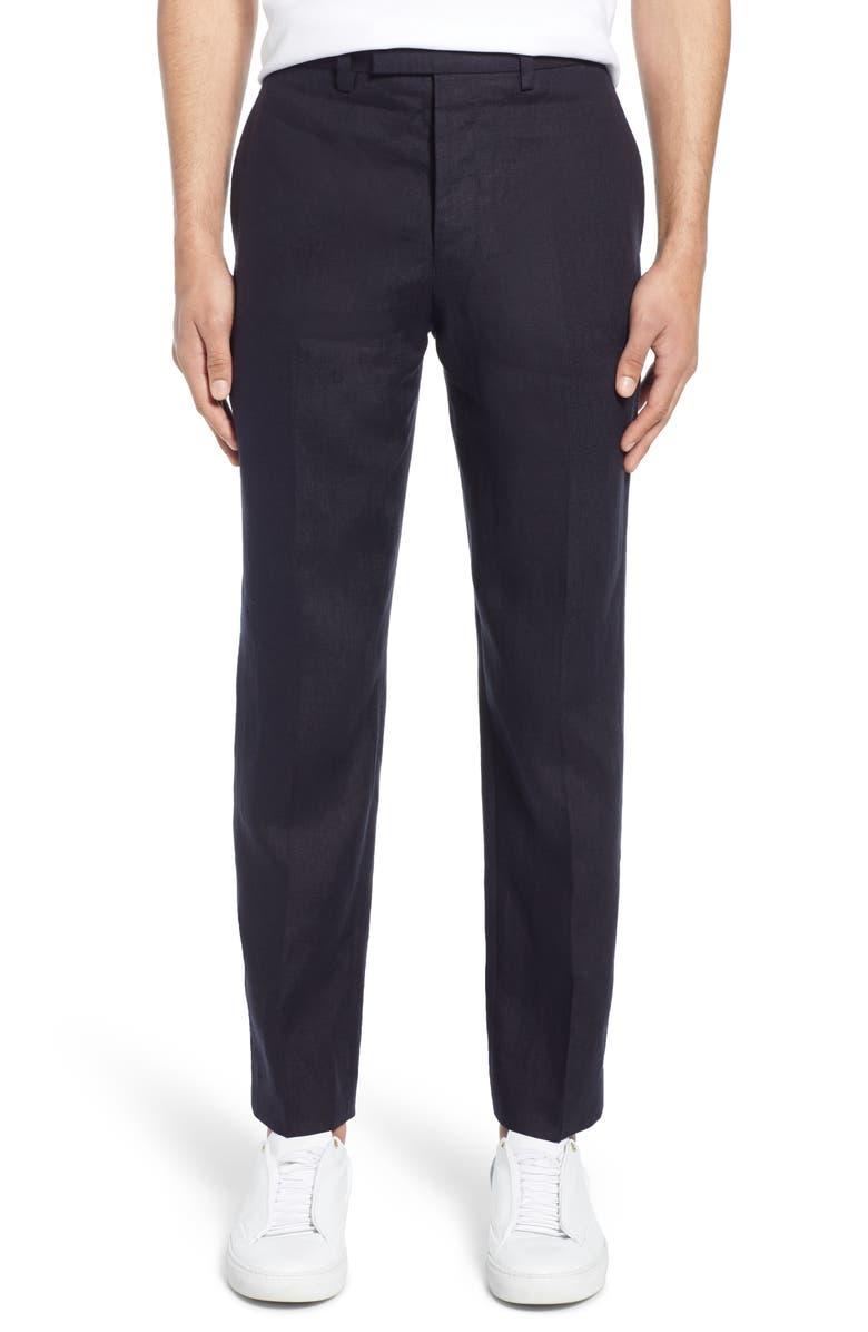 FRENCH CONNECTION Slim Fit Linen Suit Pants, Main, color, 423