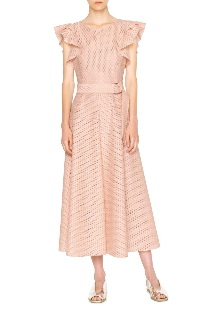 AKRIS PUNTO Flutter Sleeve Dot Lace Midi Dress, Main, color, AURORA
