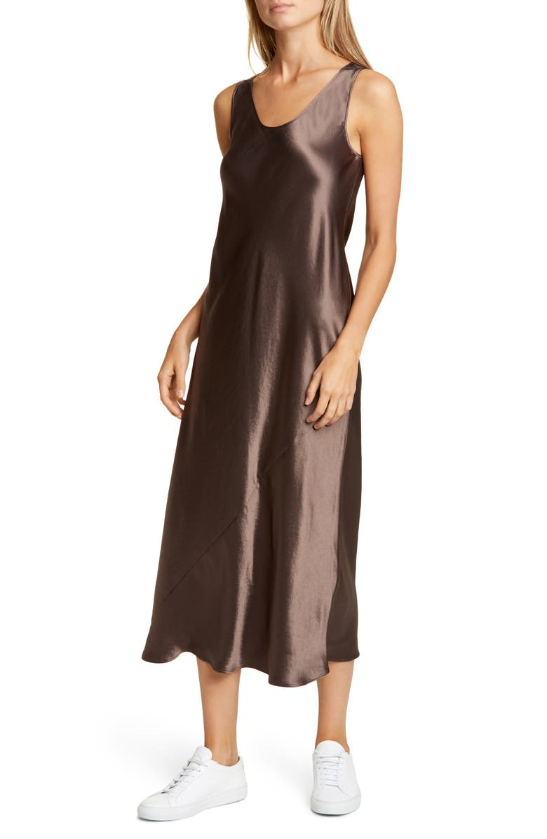 MAX MARA LEISURE Talete Satin Midi Tank Dress, Main, color, DARK BROWN